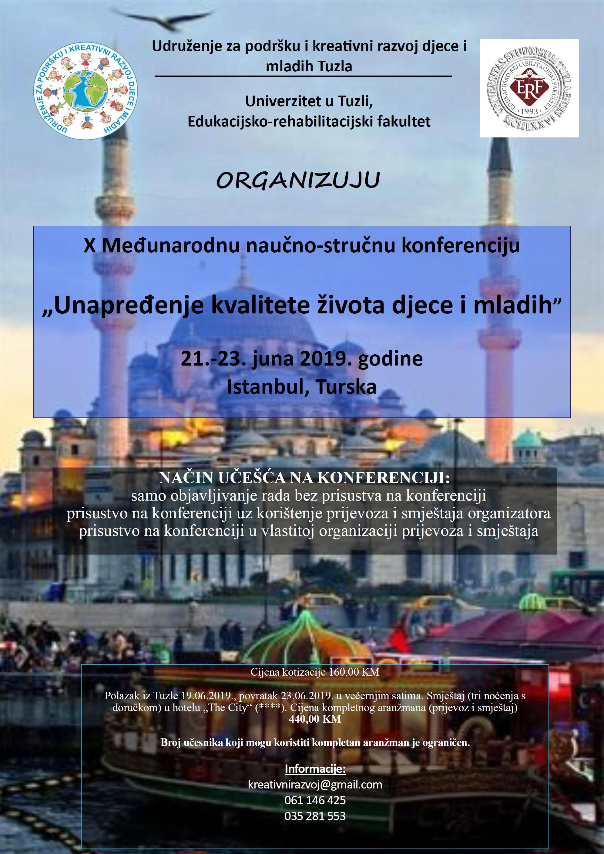 """X Međunarodna naučno-stručna konferencija """"Unapređenje kvalitete života djece i mladih"""", Istanbul"""